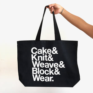 Cake & Knit & Weave & Block & Wear Canvas Tote Bag