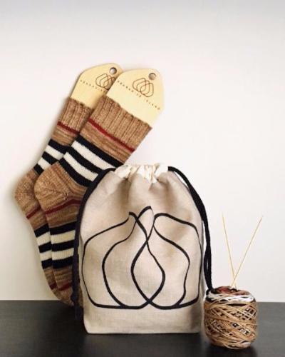 pearadise island screen printed logo drawstring project bag / knitting bag / yarn bag / yarn bowl / sock bag / drawstring bag