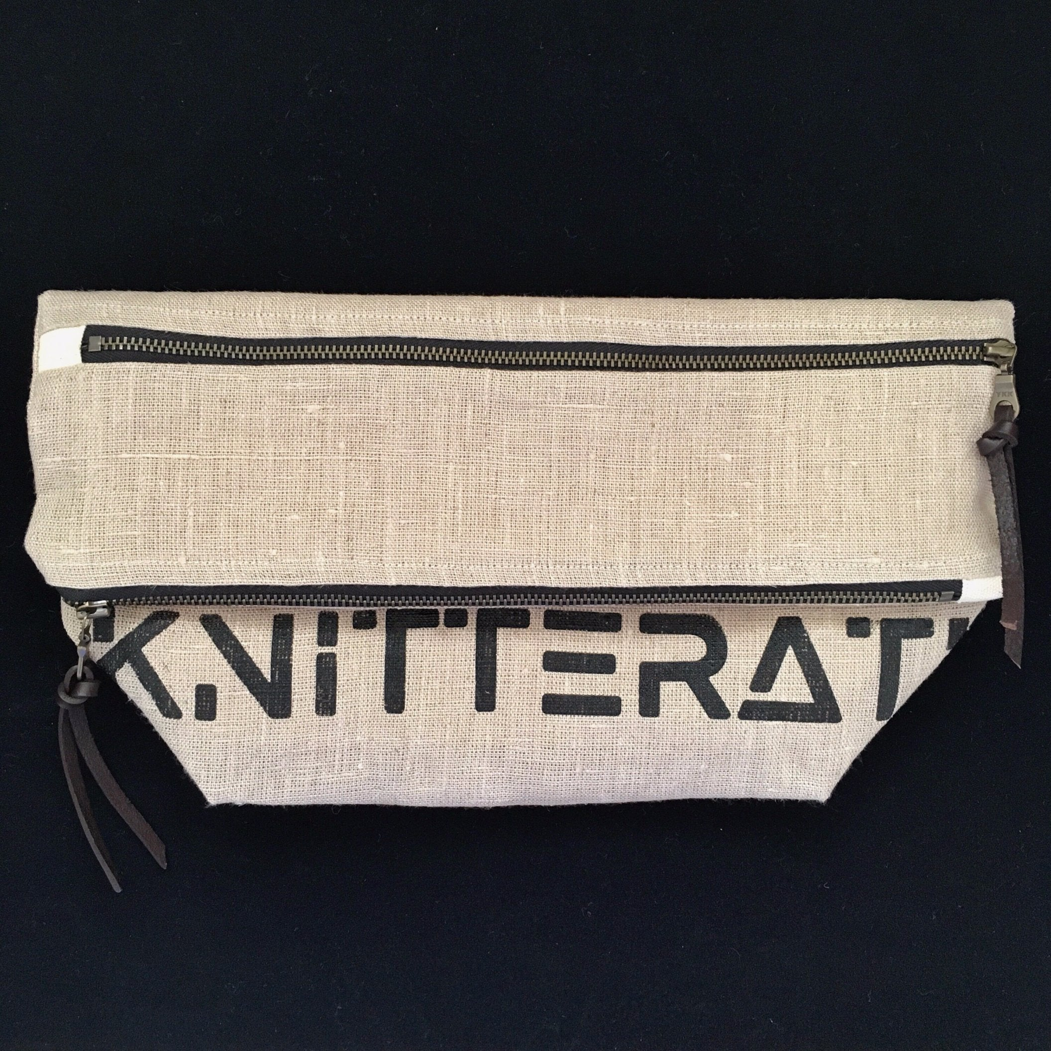 knitterati project bag / zipper bag / yarn bag / knitting / pearadise island / knitterati clutch / screen print / screen printed knitterati bag