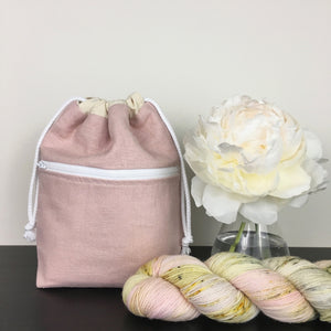 Pink Knit Drawstring Bag