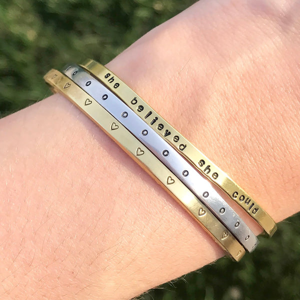 Personalized Dainty Cuff Bracelet - IF Only Pretty LLC