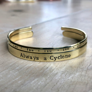 Iowa State Cyclones Gold Cuff Bracelet - IF Only Pretty LLC