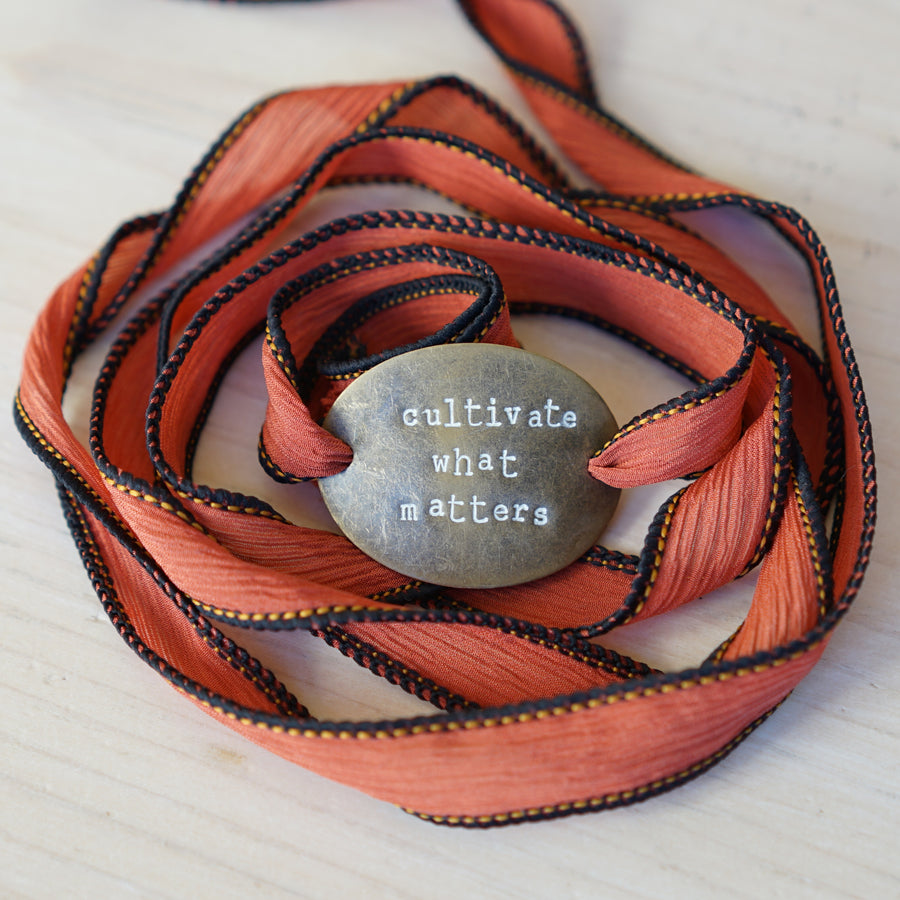 Cultivate What Matters - Rusted Silk Wrap Bracelet