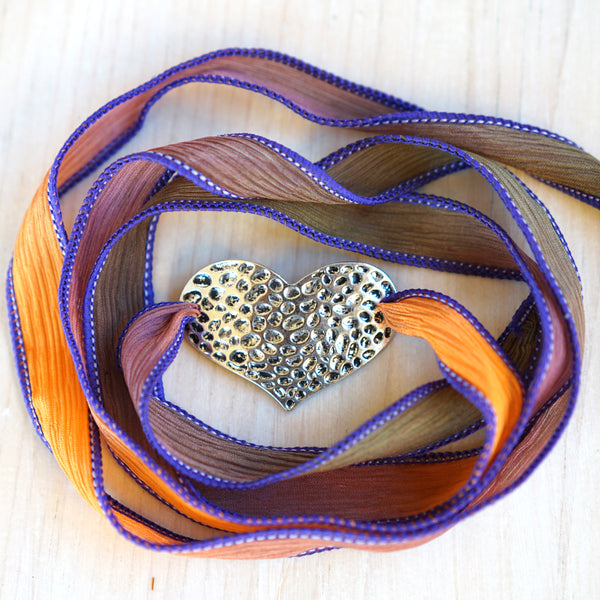 Silk Wrap Heart Bracelet