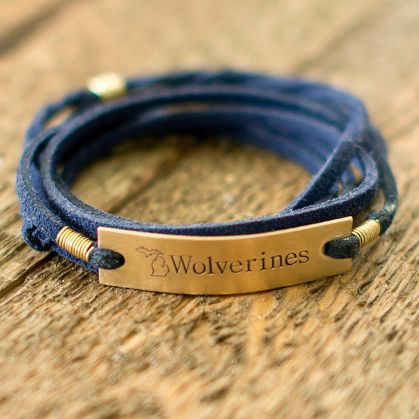 Michigan Navy Blue Wrap Bracelet