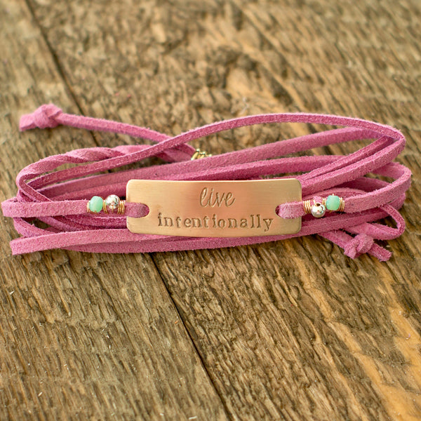 Live Intentionally Bronze Wrap Bracelet - Pink Wrap