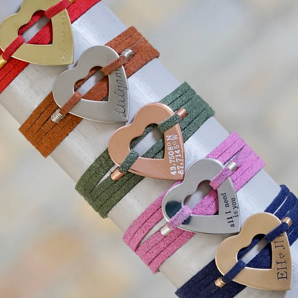 Heart Suede Wrap Bracelet - IF Only Pretty LLC