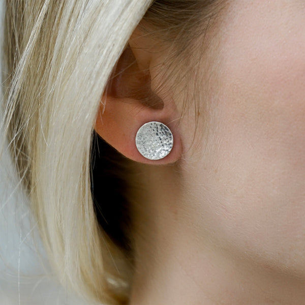Hammered Stud Earrings - IF Only Pretty LLC