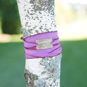 Positivity is Key - Purple Silk Wrap Bracelet