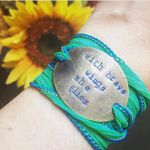 With Brave Wings She Flies Silk Wrap Bracelet