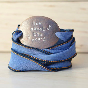 How Sweet the Sound - Denim Silk Wrap Bracelet - IF Only Pretty LLC