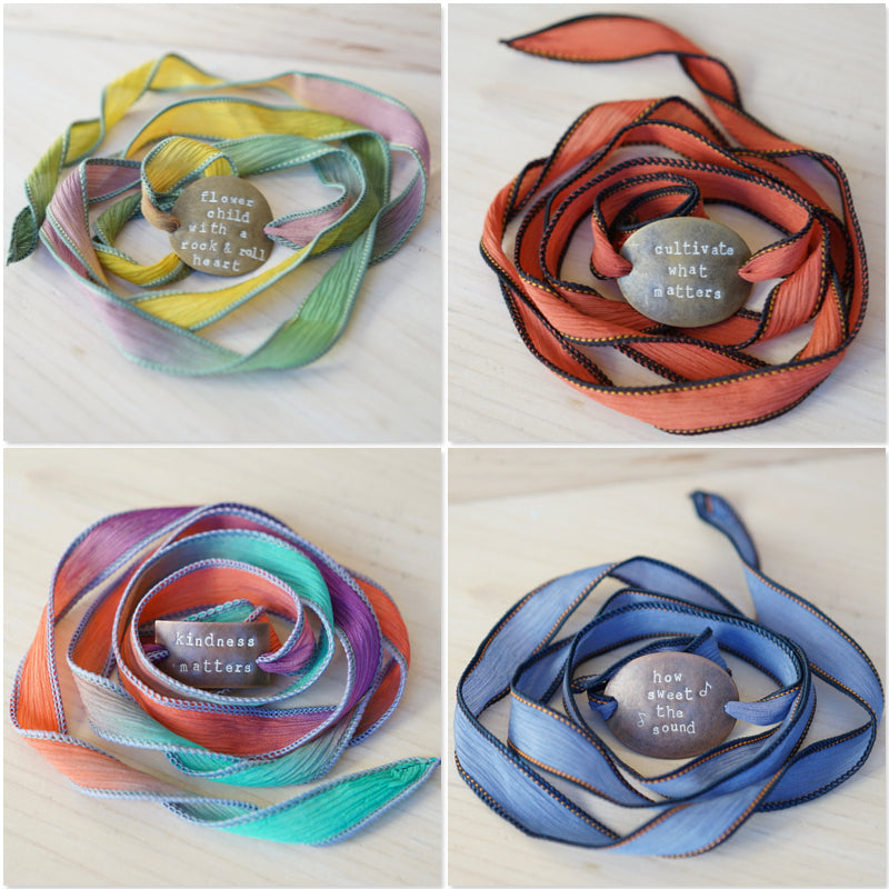 Flower Child with a Rock & Roll Heart - Silk Wrap Bracelet