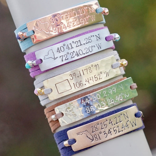 Personalized Coordinates Wrap Bracelet - IF Only Pretty LLC
