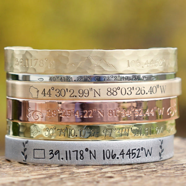 Personalized Coordinates Cuff Bracelet - IF Only Pretty LLC