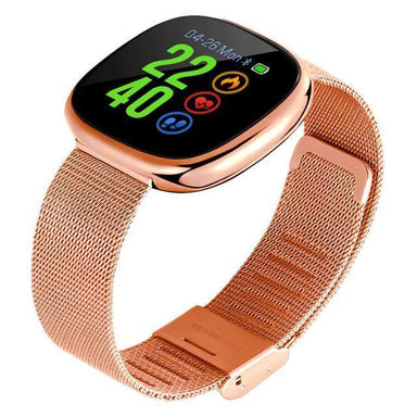 Blood Pressure & Heart Rate Monitor Smart Fitness Watch with Metal Wristband Electronics Rose Gold Humbly Nobly