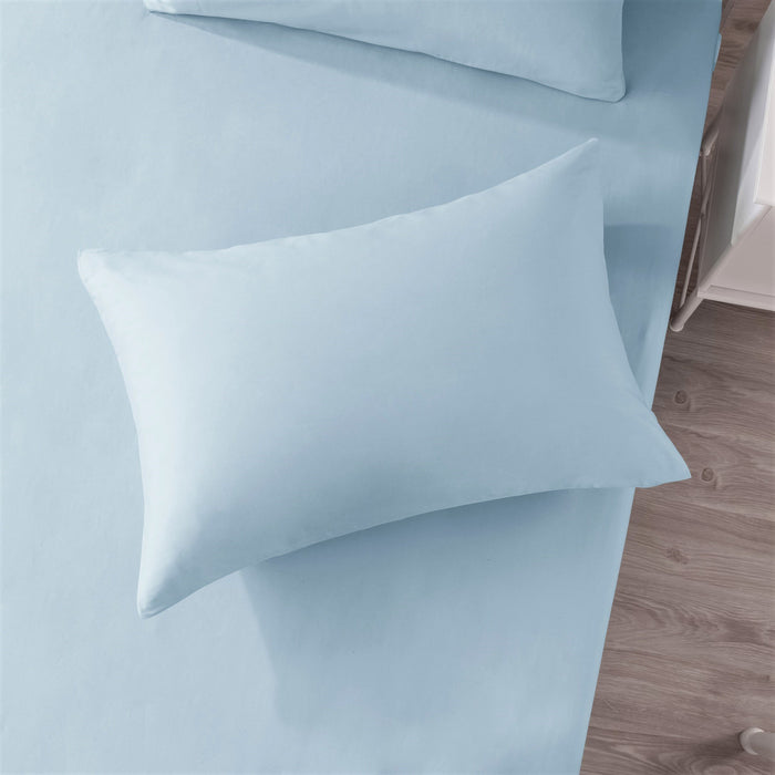 Sea-Foam Baby Blue 100% Cotton Fitted Bed Sheet with Pillow Cases Set
