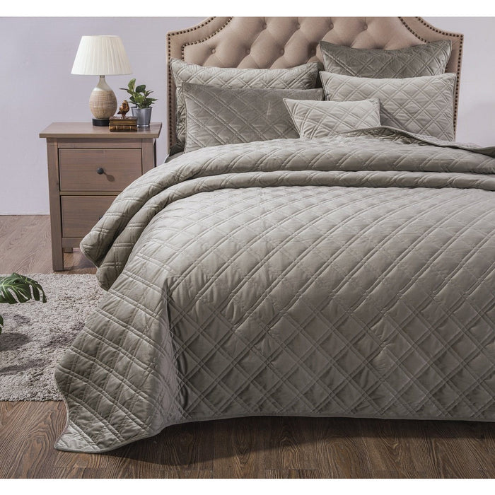 DaDa Bedding Velveteen Double Sided Quilted Coverlet Bedspread Set, Taupe Grey (JHW831) Home - Bedding DaDa Bedding Collection
