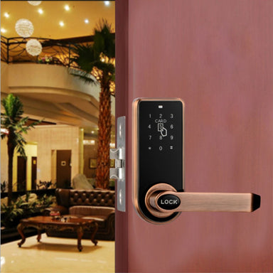 Electric Digital Keyless Security Entry Door Lock Touch Screen Password Card Key Humbly Nobly