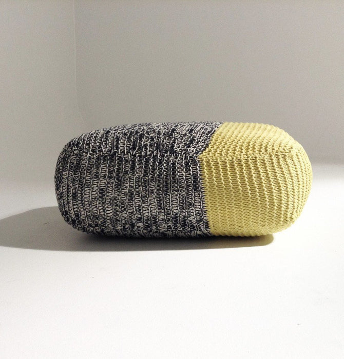 Handmade Knitted Floor Cushion | Mottled Grey & Custard Humbly Nobly