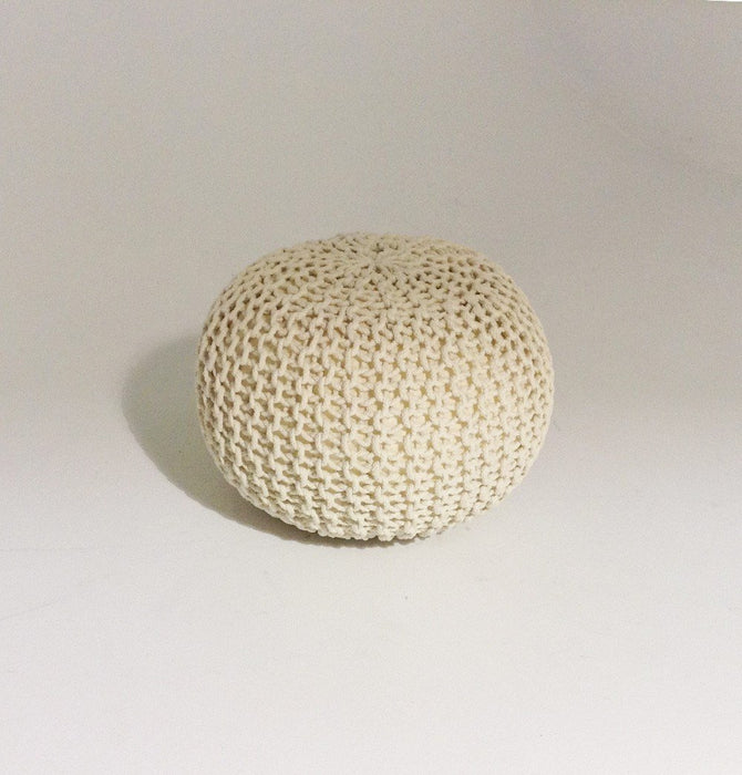 Handmade Round Knitted Pouf | Bone White | 50x35cm Humbly Nobly