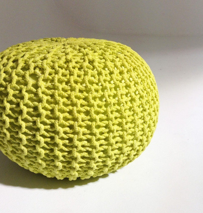 Handmade Round Knitted Pouf | Sunny Lime | 50x35cm Humbly Nobly
