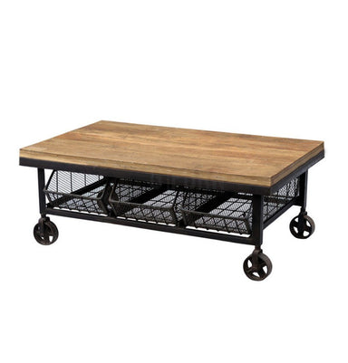 Industrial Coffee Table w/ 3 Drawers - Iron & Natural Hardwood