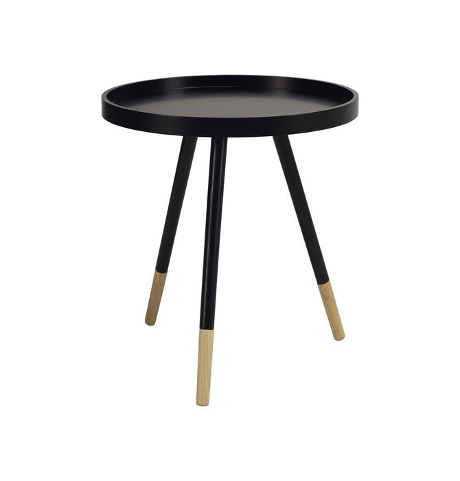Innis Round Tray Side Table - Black