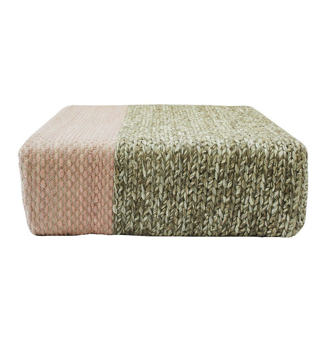 Ira - Handmade Wool Braided Square Pouf | Natural/Silver Pink | 90x90x30cm Humbly Nobly