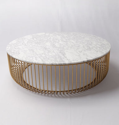 Mie Coffee Table - Carrara Marble Top & Gold Base Home Decor Humbly Nobly
