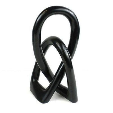 Natural Soapstone 8 inch Lover's Knot in Black its Handmade Home Decor Humbly Nobly