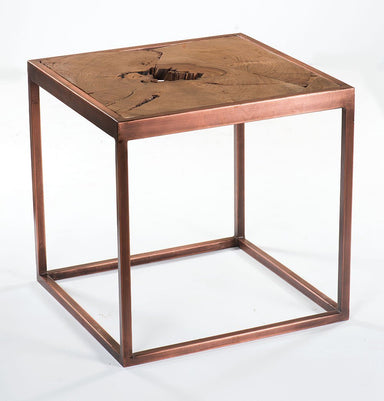 Taula Side Table with Copper Base