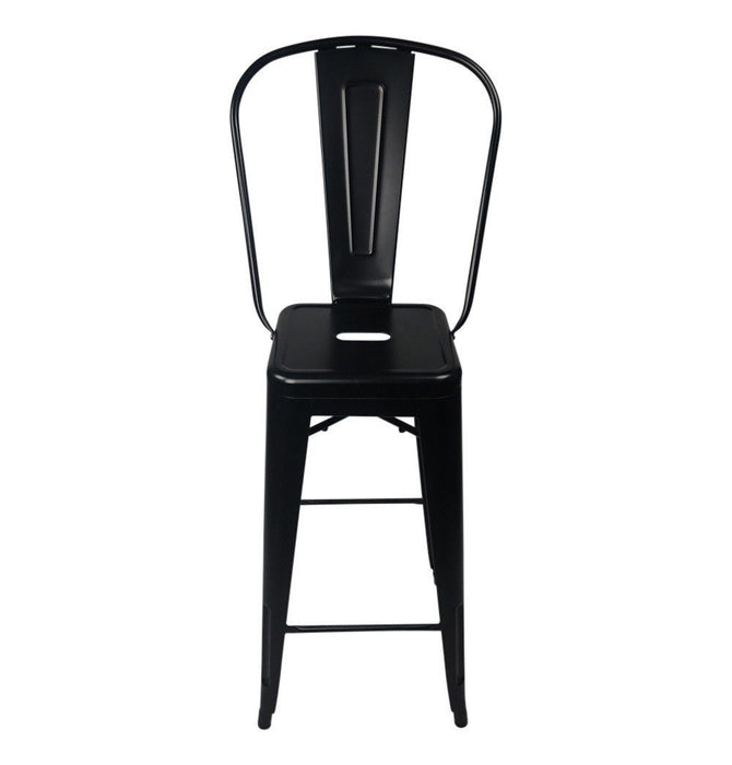 Tolix Style Bar Stool High Back Chair - Reproduction