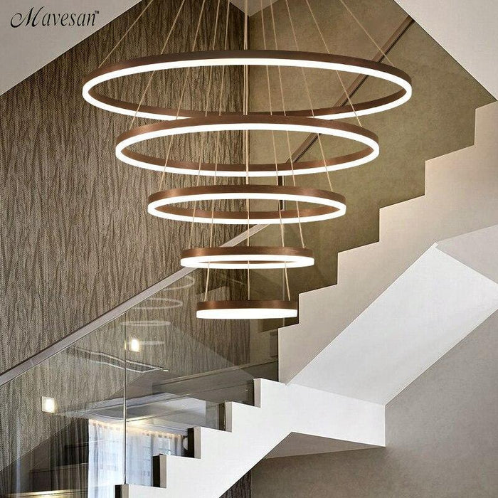 White/Coffee Finished Modern Led Pendant Light For Living Room BedRoom Indoor Hanging Circle Rings Led Pendant Lighting Fixtures