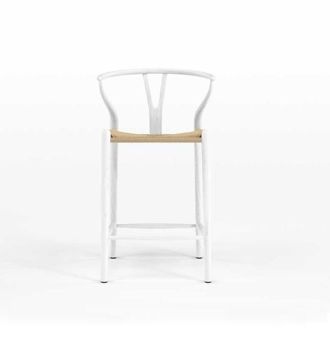 Wishbone CH24 Y Chair Counter Stool - White & Natural Cord - Reproduction Humbly Nobly