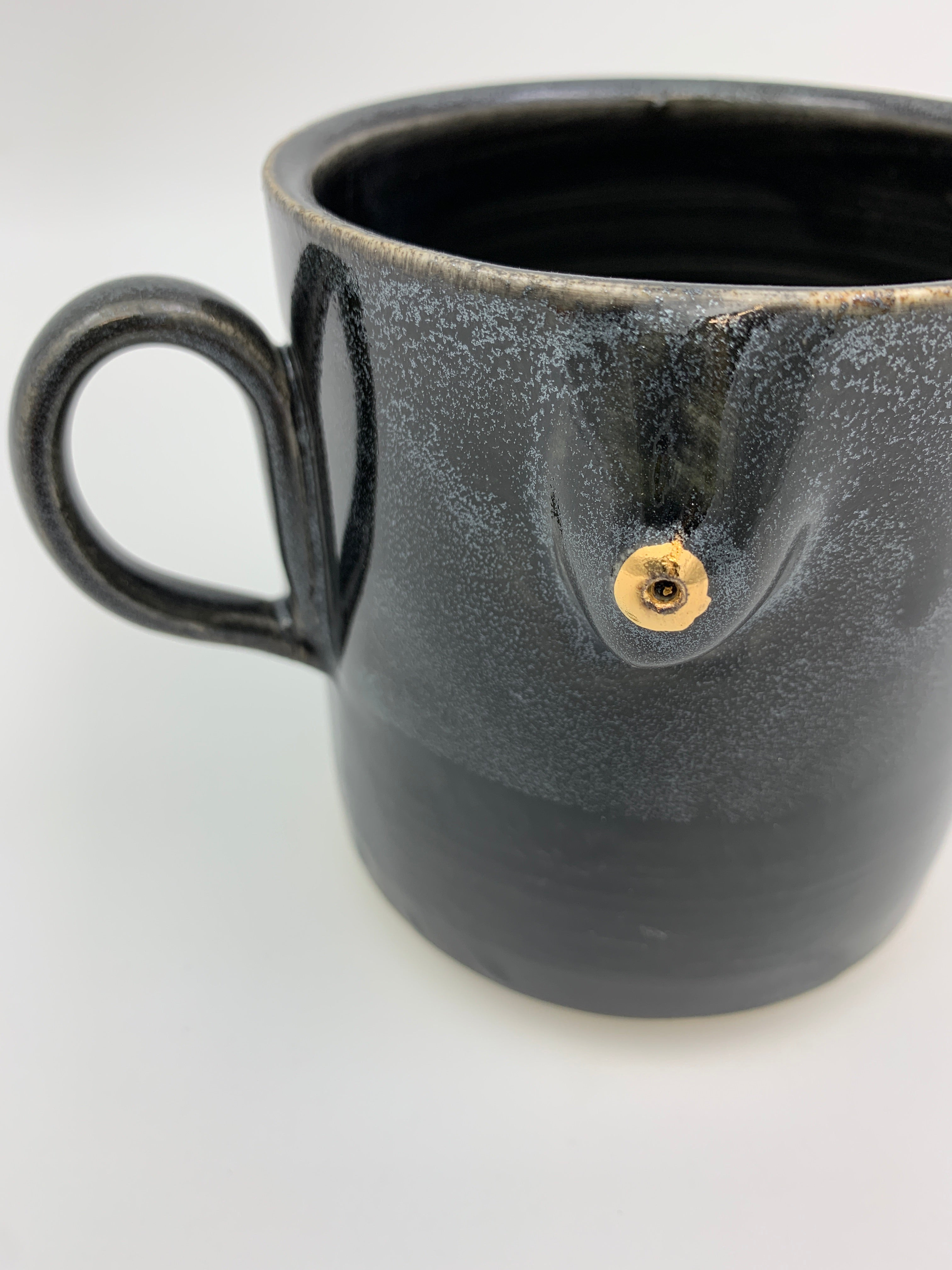 ✨GOLD NIPPLE✨Boob Mug  - Gloss Black w/ Cosmic Dip