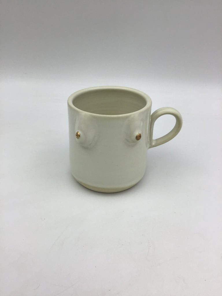 ✨GOLD NIPPLE✨Boob Mug  - Matte White