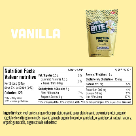 Vanilla cricket protein powder bite snacks nutrition