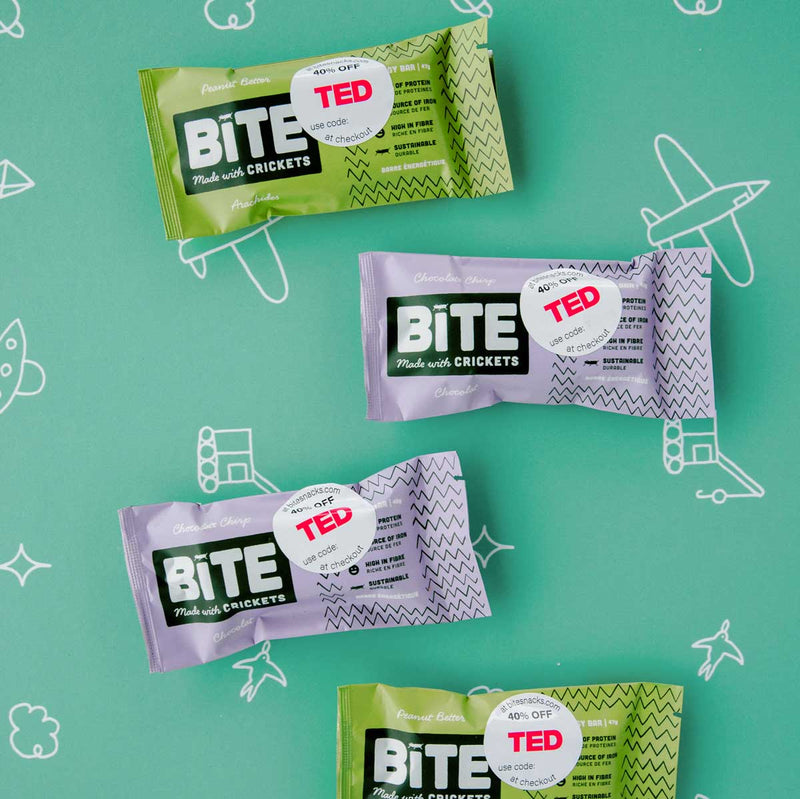 Bite snacks cricket protein Ted Talks Snack Partner
