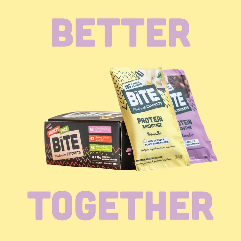 Cricket protein Bite snacks energy bars and protein powders