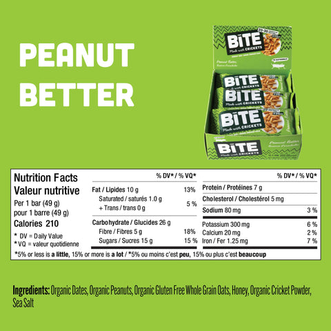 Peanut Butter Cricket Protein Energy Bars Bite Snacks Nutrition