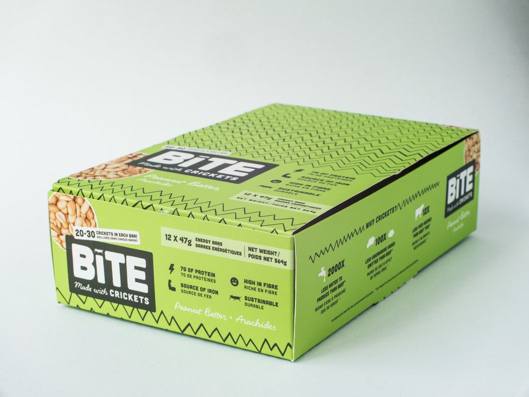 Bite Snacks Box of Peanut butter Cricket Protein Bars