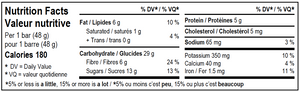 Bite Snacks Nutritional Information Panel of Chocolate Cricket Energy Bar