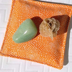 Pink Halite Crystal and Organic Lavender-filled Pillow - Orange & White Fractal Print