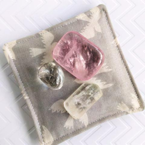 Pink Halite Crystal and Organic Lavender-filled Pillow - Gray & Ivory Swallow Print