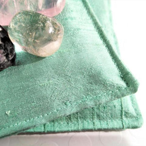 Selenite Crystal-filled Pillow - Seafoam Green Silk