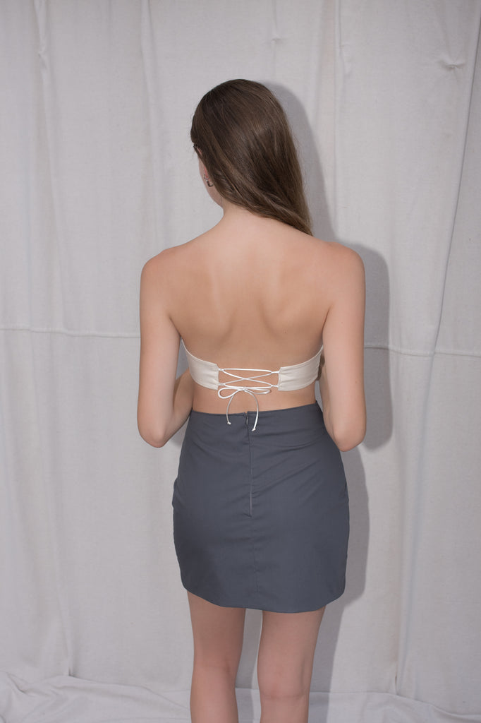 Mini Cutout Skirt | Grey