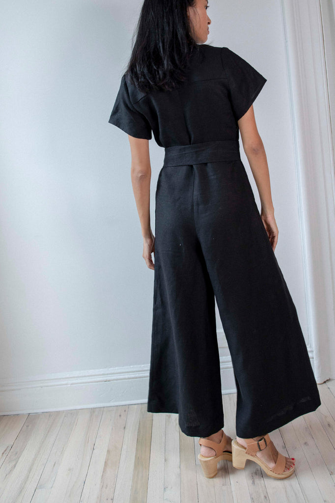 Miriam V Neck Jumpsuit | Black