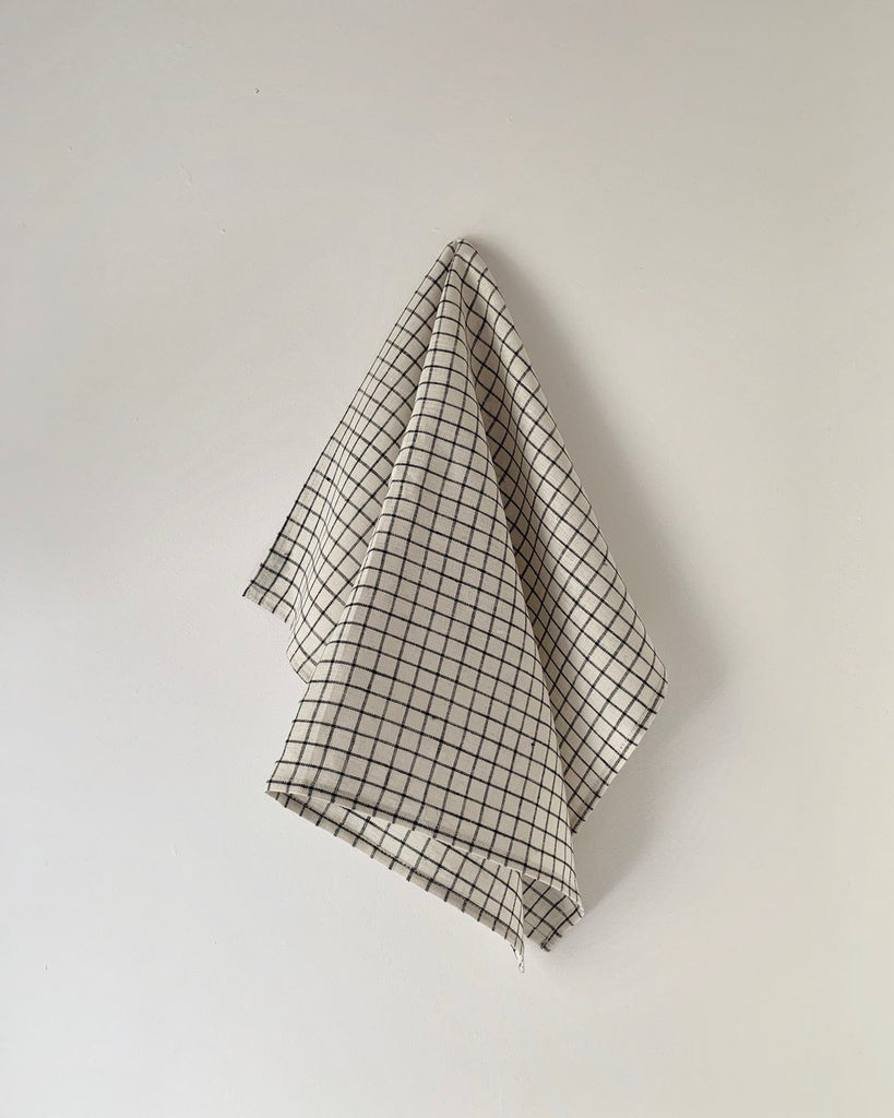 Linen Towel | Ivory/Navy Plaid