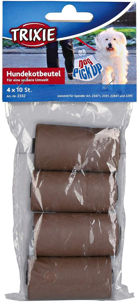Trixie Biodegradable Dog Dirt Pick-Up Bags 4 rolls of 10pcs (Brown)