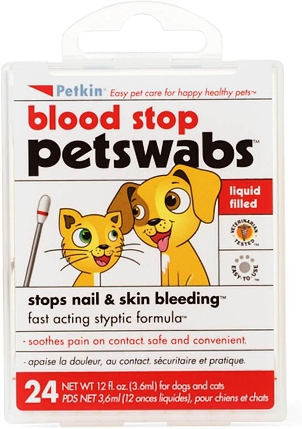 PetKin Pet Blood Stop Swabs- 24 Swabs